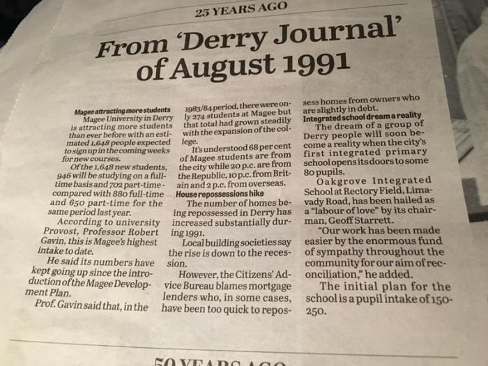 Derry Journal Article from 1991