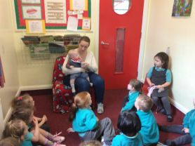 Mother and baby visit our morning nursery children.