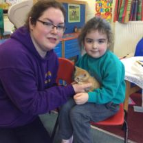 Athena's mummy and her work colleague Jo ,from St Columb's Scarr animal rescue centre, visited our nursery today with 4 baby kittens